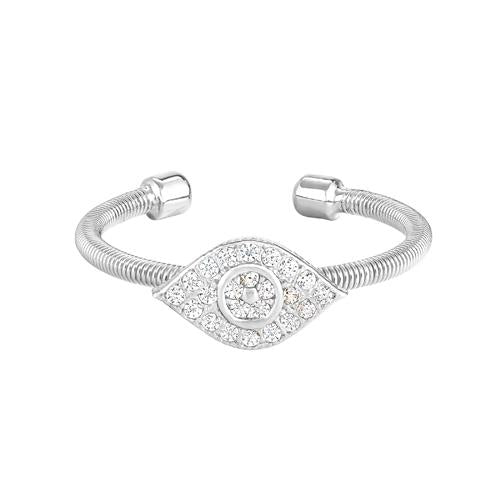 Rhodium Finish Sterling Silver Cable Cuff Evil Eye Ring with Simulated Diamonds