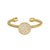 Gold Finish Sterling Silver Cable Cuf  One Circle Ring with Simulated Diamonds