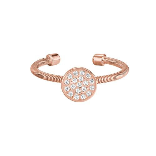 Rose Gold Finish Sterling Silver Cable Cuff One Circle Ring with Simulated Diamonds