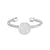 Rhodium Finish Sterling Silver Cable Cuff One Circle Ring with Simulated Diamonds