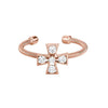 Rose Gold Finish Sterling Silver Cable Cuff  5 Stone CroSilver Ring with Simulated Diamonds