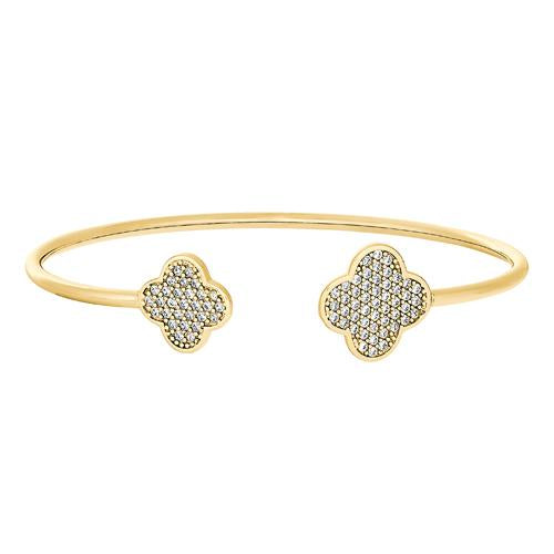 Gold Finish Sterling Silver Clover on Each End Flexible Cuff Bracelet with Simulated Diamonds