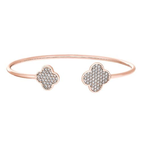 Rose Gold Finish Sterling Silver Clover on Each End Flexible Cuff Bracelet with Simulated Diamonds