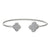 Rhodium Finish Sterling Silver Clover on Each End Flexible Cuff Bracelet with Simulated Diamonds