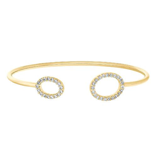 Gold Finish Sterling Silver Open Oval on Each End Flexible Cuff Bracelet with Simulated Diamonds