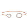 Rose Gold Finish Sterling Silver Open Oval on Each End Flexible Cuff Bracelet with Simulated Diamonds