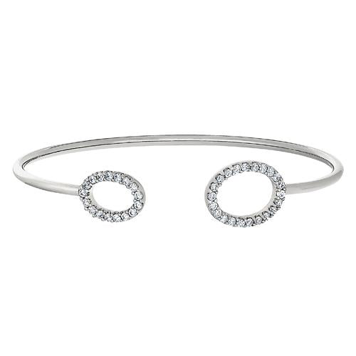 Rhodium Finish Sterling Silver Open Oval on Each End Flexible Cuff Bracelet with Simulated Diamonds