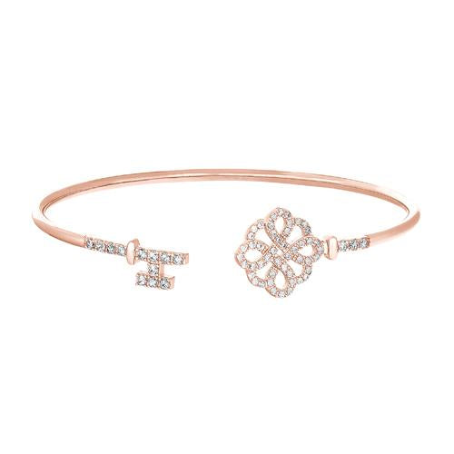 Rose Gold Finish Sterling Silver Lock and Key on Either End Flexible Cuff Bracelet with Simulated Diamonds