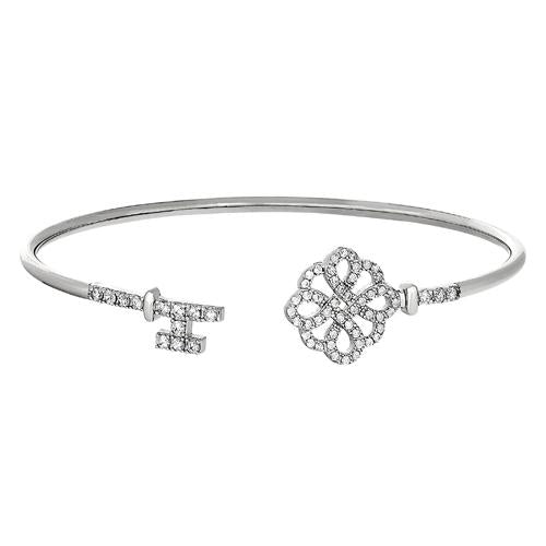 Rhodium Finish Sterling Silver Lock and Key on Either End Flexible Cuff Bracelet with Simulated Diamonds