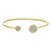 Gold Finish Sterling Silver Big Circle and Little Circle on Either End Flexible Cuff Bracelet with Simulated Diamonds