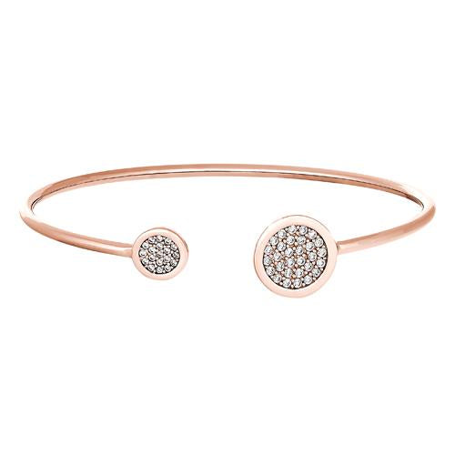 Rose Gold Finish Sterling Silver Big Circle and Little Circle on Either End Flexible Cuff Bracelet with Simulated Diamonds
