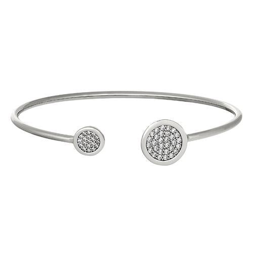 Rhodium Finish Sterling Silver Big Circle and Little Circle on Either End Flexible Cuff Bracelet with Simulated Diamonds