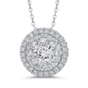 14K White Gold Round Diamond Halo Pendant with Chain