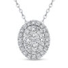 14K White Gold Round Diamond Fashion Pendant with Chain