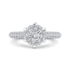 14K White Gold Round Diamond Ring with Six Prong Head
