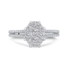 Round Diamond Ring with Split Shank In 14K White Gold