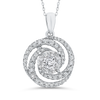 10K White Gold 3/4 Ct Diamond Fashion Pendant with Chain