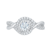 14K White Gold Round Diamond Criss Cross Halo Engagement Ring|***Complete Ring