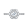 Round Diamond Floral Halo Engagement Ring In 14K White Gold|***Complete Ring