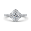 Round Diamond Halo Engagement Ring In 14K White Gold|***Complete Ring