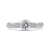 14K White Gold Round Diamond Floral Engagement Ring|***Complete Ring
