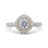 14K Two Tone Gold Round Diamond Double Halo Engagement Ring|***Complete Ring