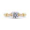 14K Two Tone Gold Round Diamond Floral Engagement Ring|***Complete Ring