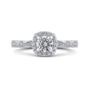 14K White Gold Round Diamond Halo Engagement Ring|***Complete Ring