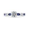14K White Gold Round Diamond Engagement Ring with Pear Sapphire|***Complete Ring
