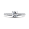 Round Diamond Cathedral Style Engagement Ring In 14K White Gold|***Complete Ring