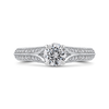 14K White Gold Round Diamond Engagement Ring with Split Shank|***Complete Ring