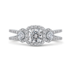 14K White Gold Round Diamond Halo Engagement with Split Shank|***Complete Ring