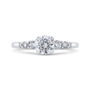 14K White Gold Round Cut Diamond Floral Engagement Ring|***Complete Ring