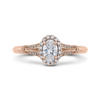 14K Rose Gold Oval Diamond Halo Cathedral Style Engagement Ring with Split Shank|***Complete Ring