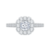 14K White Gold Cushion Diamond Halo Engagement Ring|***Complete Ring