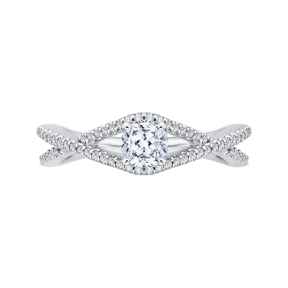 Cushion Diamond Engagement Ring with Split Shank In 14K White Gold|***Complete Ring