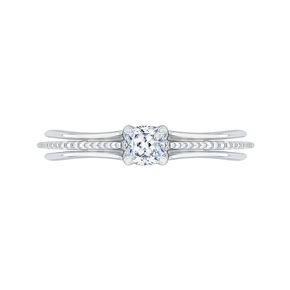 14K White Gold Cushion Cut Diamond Cathedral Style Engagement Ring|***Complete Ring