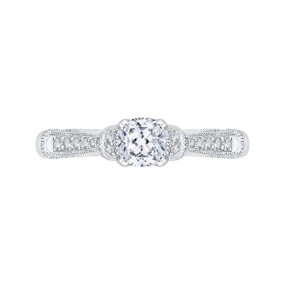 14K White Gold Cushion Diamond Cathedral Style Engagement Ring|***Complete Ring