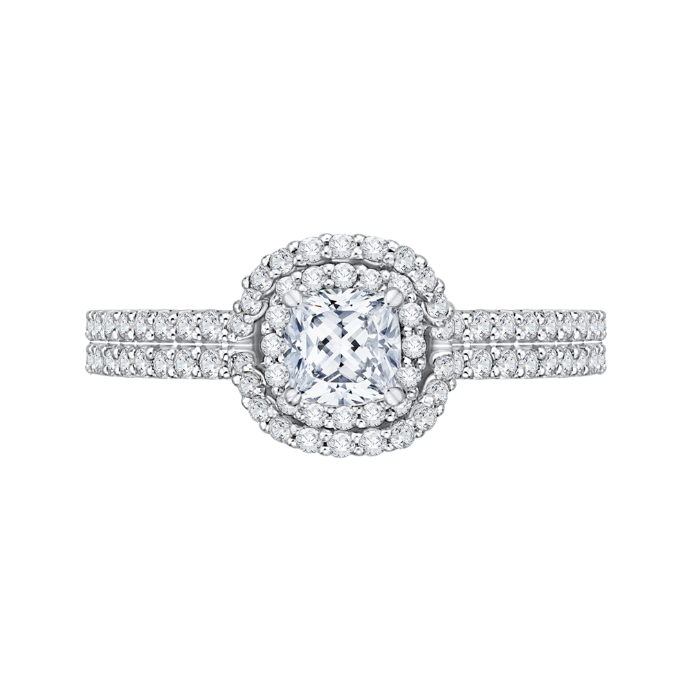 14K White Gold Cushion Cut Diamond Double Halo Cathedral Style Engagement Ring|***Complete Ring