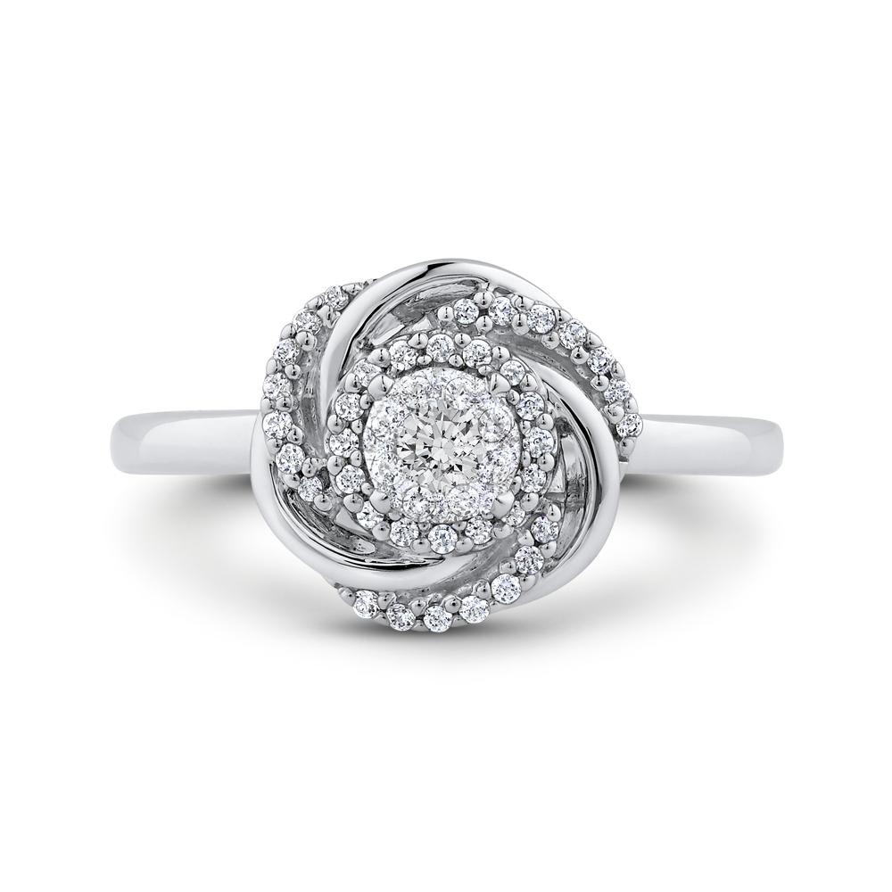 10K White Gold 1/4 ct Round Diamond Swirl Fashion Ring