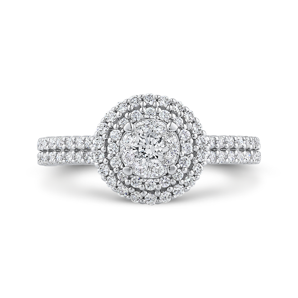 10K White Gold 2/3 ct White Diamond Cluster Fashion Ring