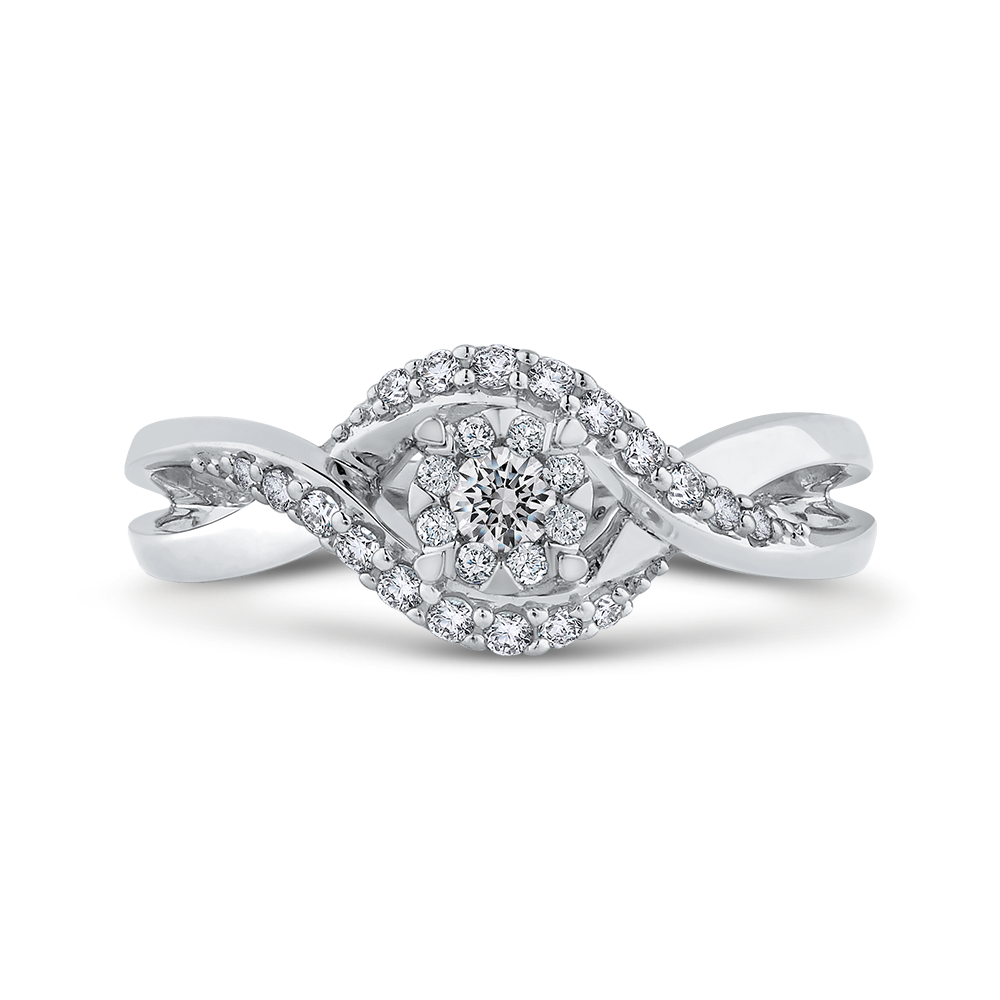 10K White Gold 1/3 ct Round White Diamond Fashion Ring