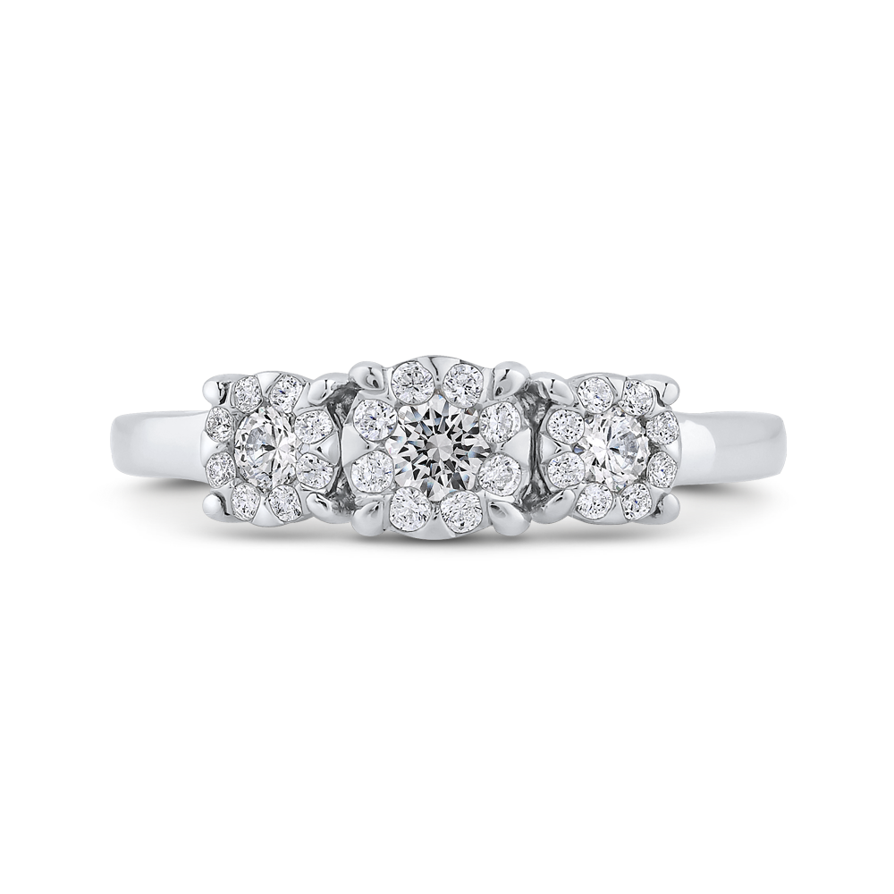 10K White Gold 3/8 ct White Diamond Three Stone Fashion Ring