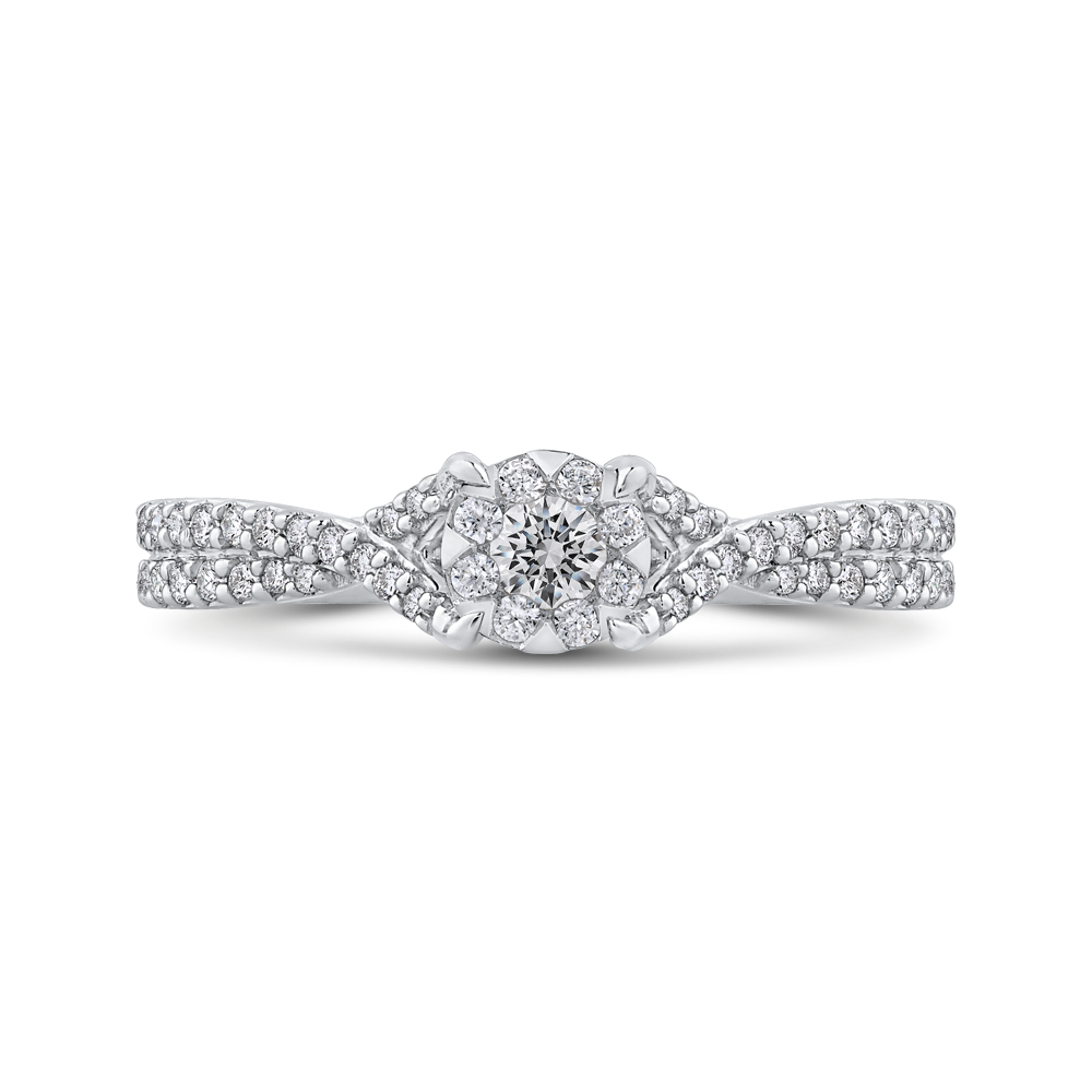 10K White Gold 3/8 ct Round White Diamond Fashion Ring