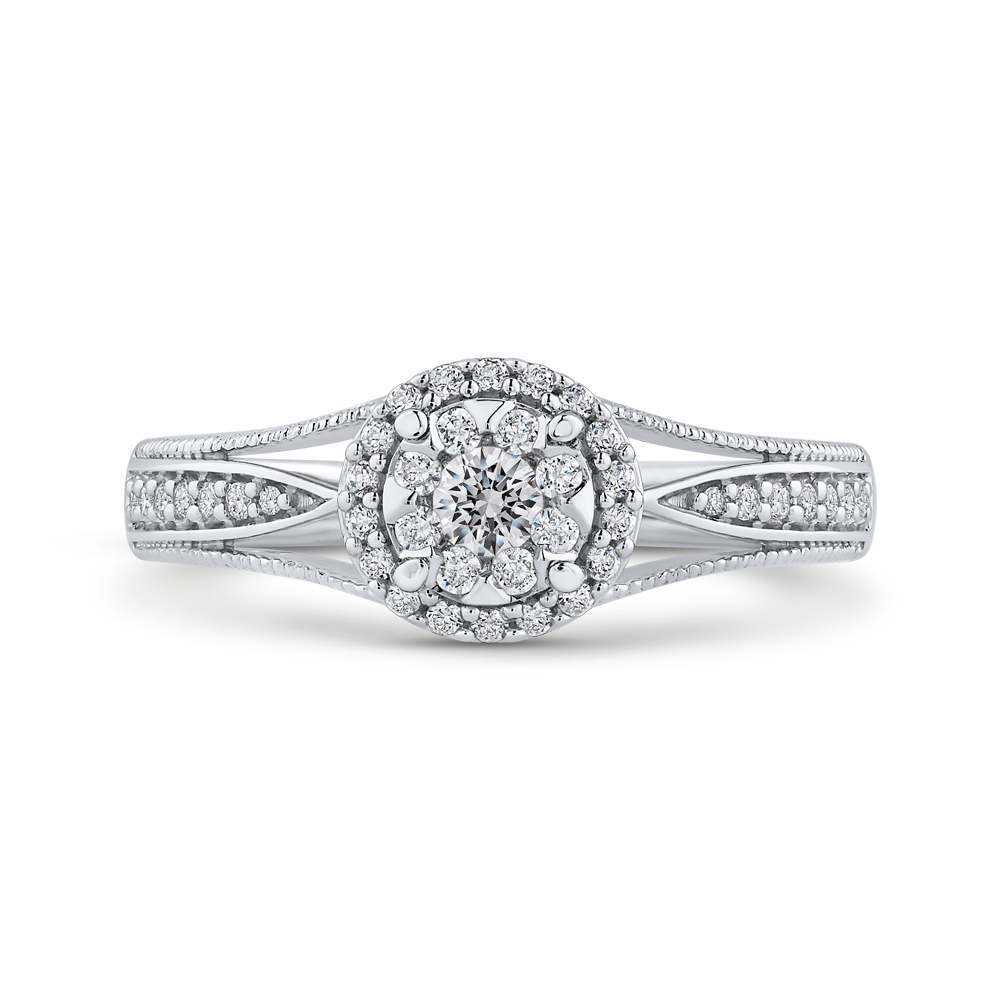 1/3 ct Round Diamond Double Halo Fashion Ring In 10K White Gold