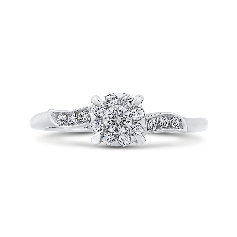 10K White Gold 1/3 ct White Diamond Halo Fashion Ring