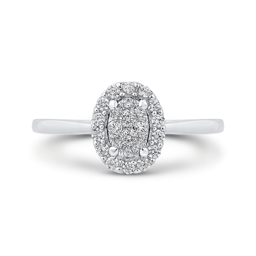 10K White Gold Round 1/3 ct White Diamond Cluster Fashion Ring
