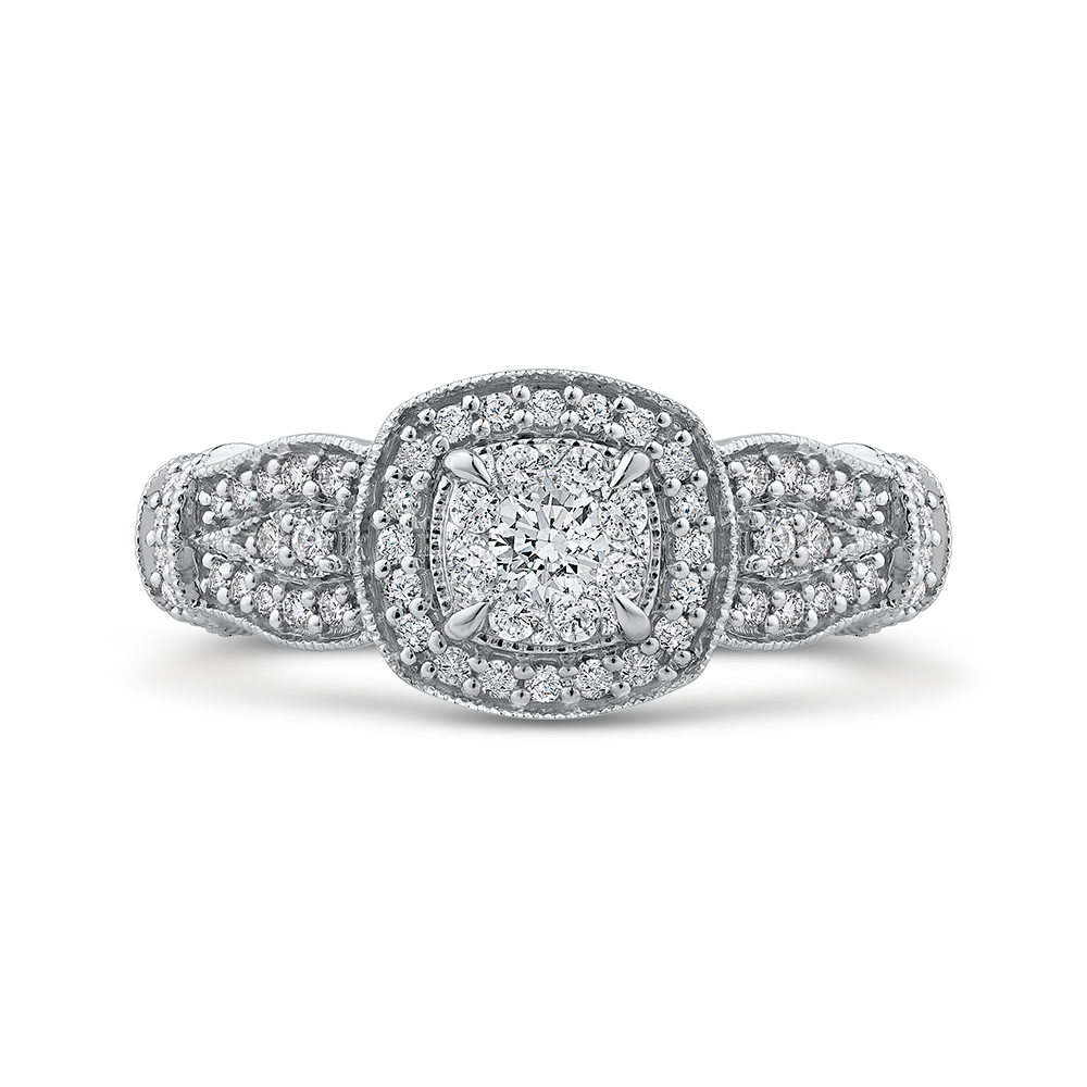 10K White Gold 1/2 ct Round Diamond Fashion Ring