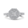 10K White Gold Round 5/8 ct Diamond Fashion Ring