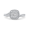 10K White Gold Round 5/8 ct Diamond Halo Fashion Ring